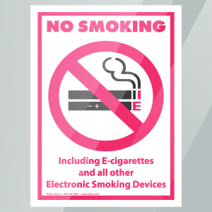 Stock No Smoking Including E-Cigarerettes and All Other Electronic Smoking Devices Decal Inside Window