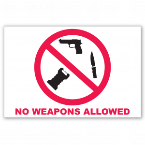 Stock No Weapons Allowed Decal