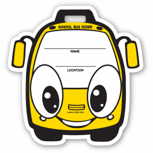 Stock Yellow Bus Backpack Tag