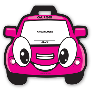 Stock Pink Car Backpack Tag