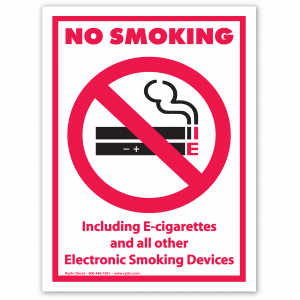 Stock No Smoking Including E-Cigarerettes and All Other Electronic Smoking Devices Decal