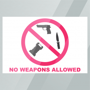 Stock No Weapons Allowed Decal Inside Window